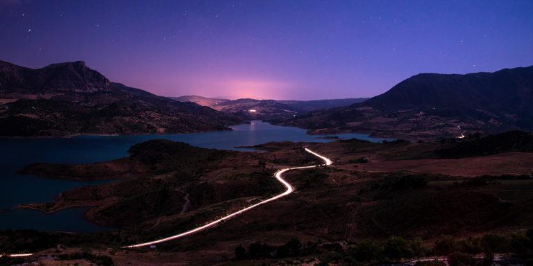 Leinwandbild - Lichter bei Nacht in Andalusien