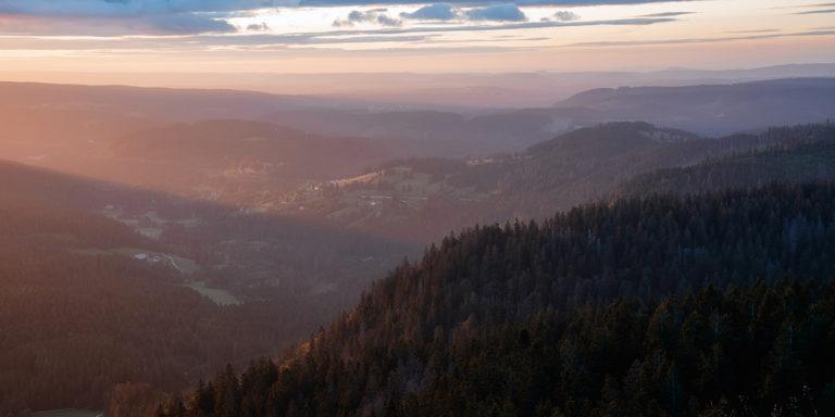 Leinwandbild - Morgenlichter im Schwarzwald