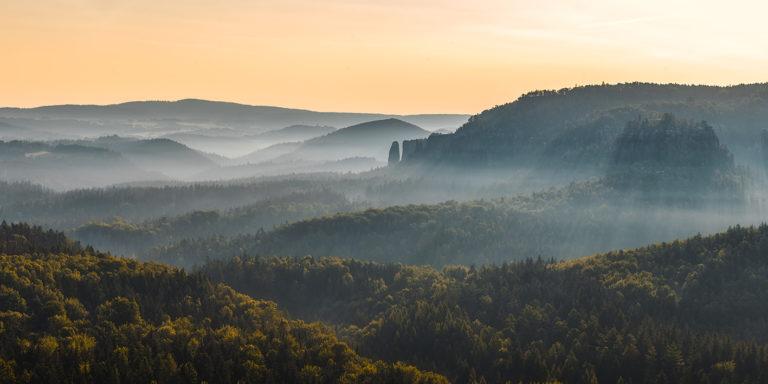 Leinwandbild - Lichterflut im morgendlichen Tal im Elbsandsteingebirge