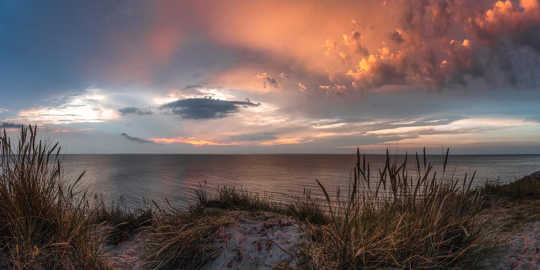 Leinwandbild - Düne im Sonnenuntergang auf Rügen