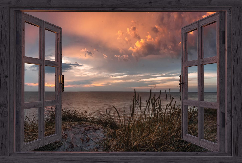 Leinwandbild - Fensterblick auf Düne zum Sonnenuntergang auf Rügen